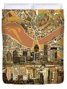 Louisville Kentucky Skyline Abstract 2 Duvet Cover