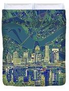 Louisville Kentucky Skyline Abstract 6 Duvet Cover