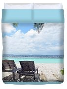 Lounge Chairs At The Beach In Maldives Duvet Cover