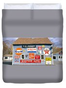 Love Barn With Road Signs, Orland, Maine Duvet Cover