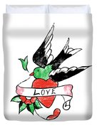 Love Bird Tattoo Duvet Cover