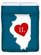 Love Illinois White Duvet Cover