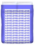 Love In Blue Neon Duvet Cover