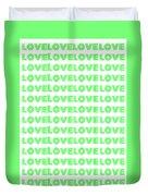 Love In Green Neon Duvet Cover
