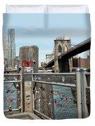Love Locks In Brooklyn New York Duvet Cover