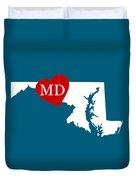 Love Maryland White Duvet Cover