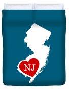 Love New Jersey White Duvet Cover