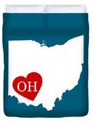 Love Ohio White Duvet Cover