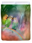 Love On A Rainbow Duvet Cover by Carol Cavalaris