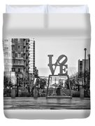 Love On The Parkway In Black And White Duvet Cover