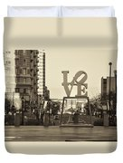 Love On The Parkway In Sepia Duvet Cover