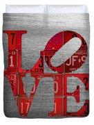 Love Sign Philadelphia Recycled Red Vintage License Plates On Aluminum Sheet Duvet Cover