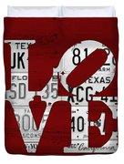 Love Sign Vintage License Plates On Red Barn Wood Duvet Cover