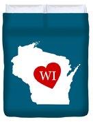 Love Wisconsin White Duvet Cover