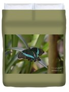 Lovely Blue And Black Emerald Swallowtail Buterfly Duvet Cover