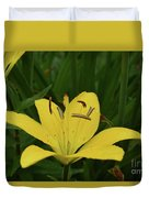 Lovely Close Up Of A Yellow Lily In Full Bloom Duvet Cover