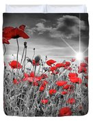 Lovely Field Of Poppies With Sun  Duvet Cover