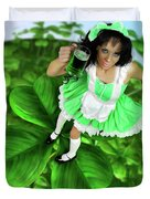 Lovely Irish Girl With A Glass Of Green Beer Duvet Cover