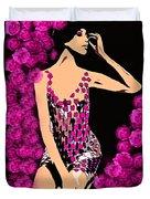 Lovely Luna Among The Roses C 1966 Duvet Cover