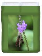 Lovely Moth On Dainty Flower Duvet Cover