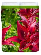 Lovely Red Lilies Duvet Cover