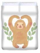 Lovely Sloth Illustration Duvet Cover