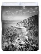 Lover's Cove Catalina Island Black And White Photo Duvet Cover