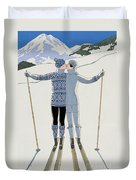Lovers In The Snow Duvet Cover