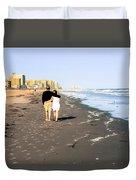 Lovers On The Beach Duvet Cover by Tom Zukauskas