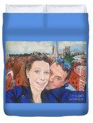 Lovers Selfie In York, England Duvet Cover