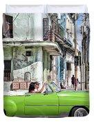 Lovin' Lime Green Chevy Duvet Cover by Gigi Ebert