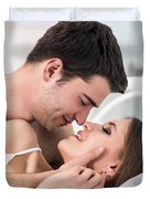 Loving Couple In Bed. Duvet Cover
