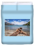 Low Angle View From The Rocky Dart River Bank At Kinloch, Nz Duvet Cover
