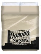 Low Angle View Of Domino Sugar Sign Duvet Cover