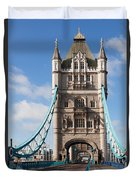 Low Angle View Of Tower Bridge, London Duvet Cover