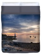 Low Tide At Salem's Lighthouse Duvet Cover
