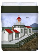 Low Tide At West Point Lighthouse In Seattle Duvet Cover