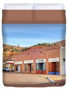 Lowell Arizona Pottery Building Old Police Car Duvet Cover