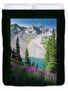 Lower Blue Lake Summer Portrait Duvet Cover by Cascade Colors