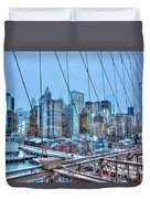 Lower East Side At Dusk From The Brooklyn Bridge Duvet Cover