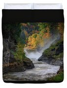 Lower Falls Of The Genesee River Duvet Cover