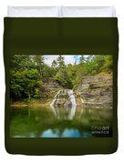 Lower Falls Reflection Of Enfield Glen Duvet Cover