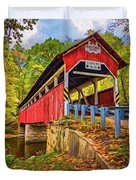Lower Humbert Covered Bridge 2 - Paint Duvet Cover