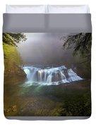 Lower Lewis Falls Foggy Morning Duvet Cover