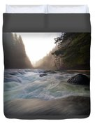 Lower Lewis River Falls During Sunset Duvet Cover