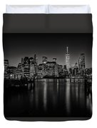 Lower Manhattan From The Brooklyn Piers Duvet Cover by Dick Wood