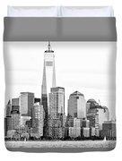Lower Manhattan In Black And White Duvet Cover