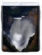 Lower Yellowstone Waterfall Falls In Canyon National Park Duvet Cover