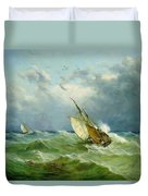 Lowestoft Trawler In Rough Weather Duvet Cover