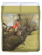 Lt Col Ted Lyon Jumping A Hedge Duvet Cover
